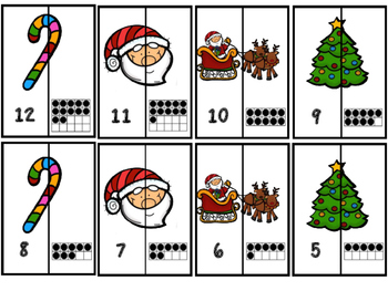 December Letter Matching Aa-Zz  And  Ten Frame Number Matching 1-20