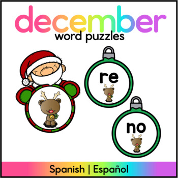 December Literacy Center SPANISH - Centro de Silabas Diciembre/Navidad