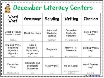 December Literacy Centers Menu {CCS Aligned} Grade 1