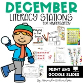 December Literacy Centers and Stations in Print and Digita