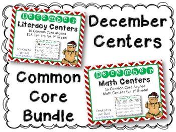 December  Literacy & Math Centers Menu BUNDLE {CCS Aligned} Grade 1