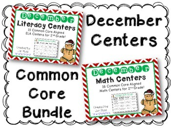 December  Literacy & Math Centers Menu BUNDLE {CCS Aligned} Grade 2