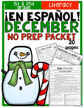December Literacy No Prep Packet ¡En Español! (1st and 2nd Grade)