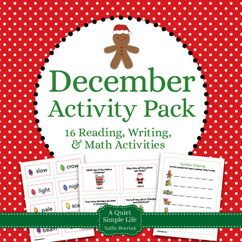 Christmas Literacy and Math for Kindergarten and First Grade