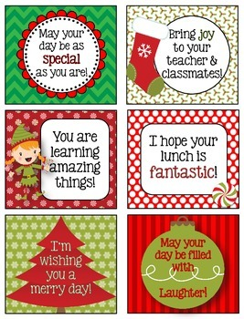 December Lunchbox Notes, Jokes, and Bottle Wraps