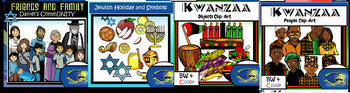 December MEGA Bundle Clip-Art! 250+ Pcs.! Christmas, Hanukkah, Kwanzaa, Winter!
