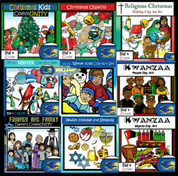 December MEGA Bundle Clip-Art! 250+ Pcs.! Christmas, Hanukkah, Kwanzaa, Winter!