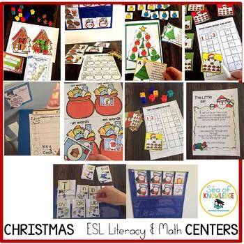 Christmas Centers Kindergarten Differentiated - Math & Literacy