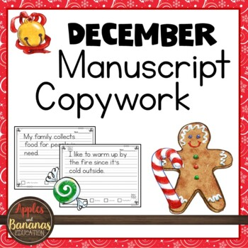 December Manuscript Copywork - Handwriting Practice