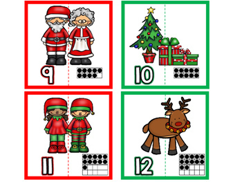 December Math Center/ Christmas Number Puzzles