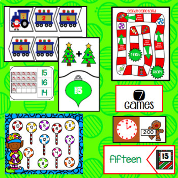 December Math Centers - First Grade 7 Games - Easy Prep Christmas