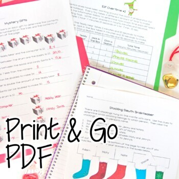 Christmas Math Challenges & Brainteasers-December Fast Finishers, HW, Extensions