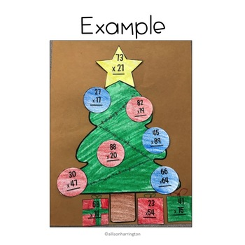 December Math Craft and Flip Book: Multiplying 2 Digits by 2 Digits
