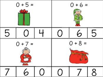December Math Fact Clip Cards: Addition and Subtraction to 10