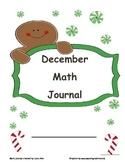 December Math Journal Gingerbread Themed