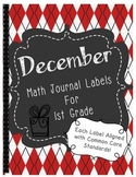 December Math Journal Labels ~ CCSS Aligned