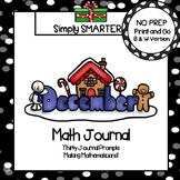 December Math Journal:  NO PREP Journal Prompts