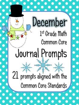 December Math Journal Prompts - 1st Grade. Common Core