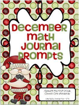 December Math Journal Prompts (First Grade)