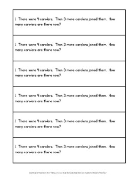 December Math Journal Word Problems for 1st Grade