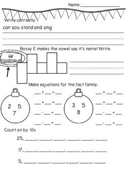 December Math & Literacy Morning/Homework CCSS Aligned