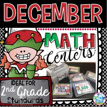 December Math Mini Center Bundle 2nd Grade
