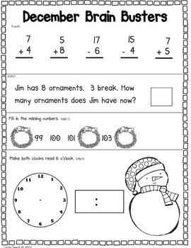 December Math Pack (1st Grade Common Core)