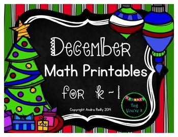 December Math Printables for K-1