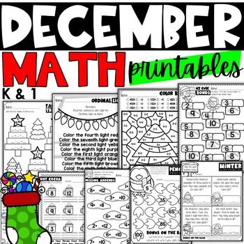 December Math Printables for Kindergarten and First Grade