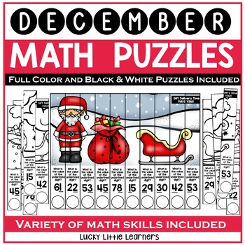 December Math Puzzles for Christmas Activities & Centers