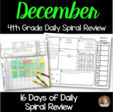 December Math Spiral Review (MONTH 4): Daily Math for 4th Grade