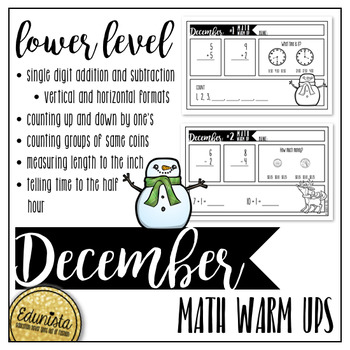 December Math Warm Ups - Differentiated for 2 levels!