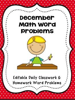 December Math Word Problems- Editable