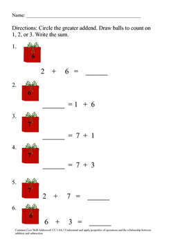 December Math Worksheet Review Set--1st Grade