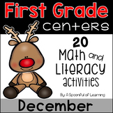 December Math and Literacy Centers - First Grade