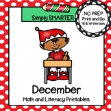 December Math and Literacy Printables and Activities For First Grade