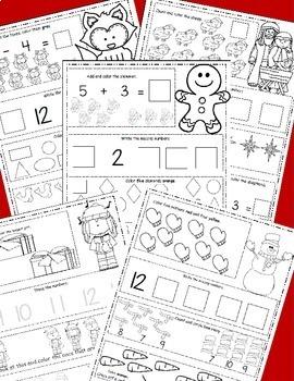 Christmas Math December Themed Math Worksheets, Winter Themed Daily Math