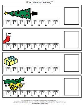 December Measurement File Folder Games