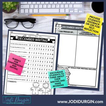 December Mega-Writing Packet {Task Card Prompts, Posters, & Writing Process}