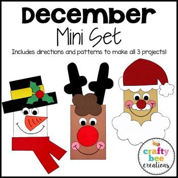 December Mini Craft Set {Snowman, Reindeer, & Santa}
