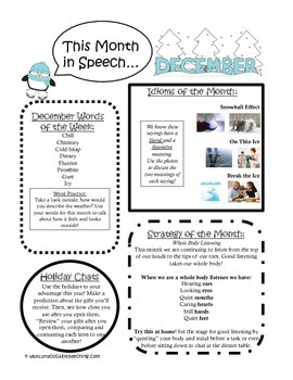 December Monthly Speech Newsletter