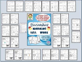 December Morning Bell Work / Common Core! ELA, Math, Science & Social Studies!
