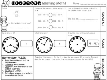 December Morning Math Work