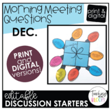 Editable December Morning Meeting Question Cards