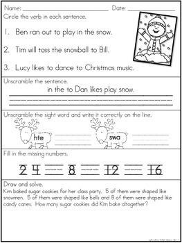 December Morning Work - 1st Grade