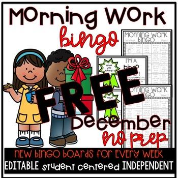 December Morning Work Bingo FREE SAMPLE