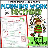 Morning Work or Homework: First Grade (December/Christmas Theme)