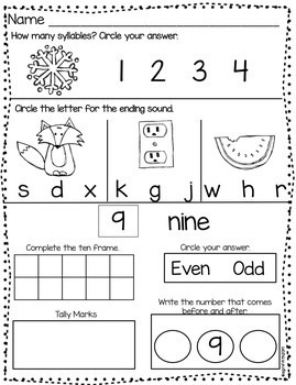 Kindergarten Morning Work December