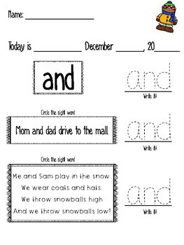 December Morning Work-Pre-Primer Sight Words