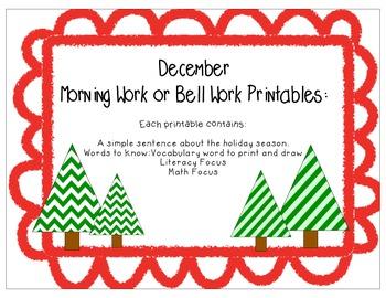 December Morning Work Printables